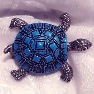 VTG Blue, Black & Silver Turtle Brooch